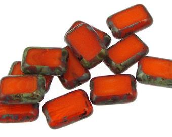 Orange Beads 12mm x 8mm Rectangle Beads - Orange Opal Picasso Czech Glass Beads - Fall Autumn Jewelry Beads Tangerine Bright Orange Beads