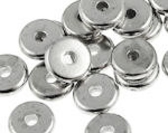100 Rhodium Beads 6mm Disk Beads - Dark Rhodium Silver Washer Beads - TierraCast Pewter Heishi Spacer Beads - Flat Disk Spacers (PS288)