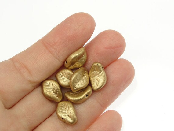 25 Flax Leaf Beads 14mm X 9mm Czech Matte Metallic Flax