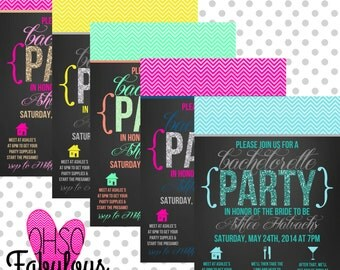 Chevron Glitter /// Bridal Shower Bachelorette Party Invitation /// Customizable and PRINTABLE