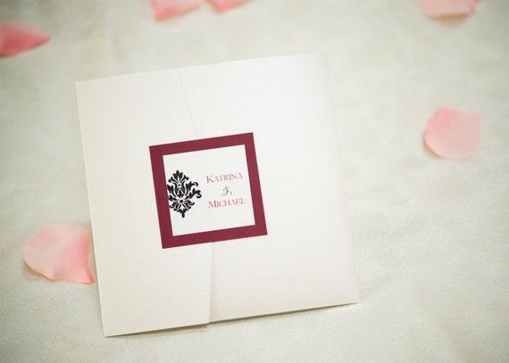 Custom 6 x 6 Square Pocket Fold Invitation Sample
