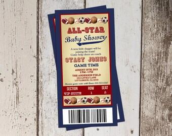 Vintage sports Baby Shower Invitation, All Star Baby Shower, ticket invitation