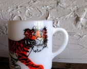 Vintage Milk Glass Tiger Cup