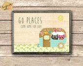 Go Places- come home for love . Vintage Camper  Collage Poster Print, Nursery Wall art, Kids room