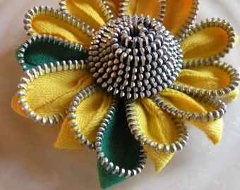 Yellow Sunflower Up Cycled Flower Zipper Brooch or Hair Clip
