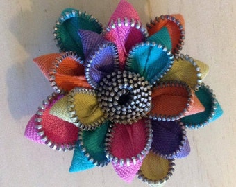Recycled Rainbow Vintage Zipper Flower Brooch