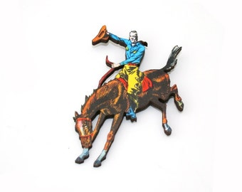 Cowboy Brooch, Wooden Pony Brooch, Horse Illustration, Animal Brooch, Wood Jewelry