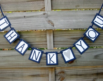 Thank You Photo Prop Banner in Navy Blue and Silver