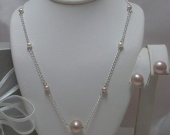 Genuine Pearl  Bridesmaid Necklace and Earrings Set