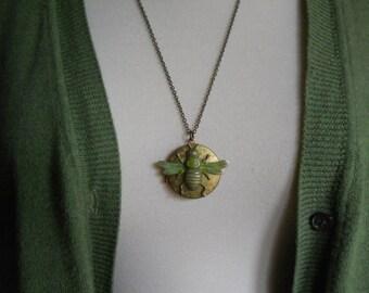 Bee Locket Vintage Brass Locket with Bumblebee Charm on Long Brass Chain Bee Locket Honeybee Garden Jewelry