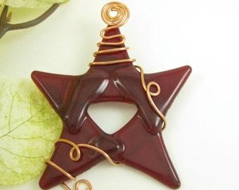 Glass Star Suncatcher - Red
