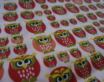 Summer Sorbet - Owls hand printed cotton fabric - half yard