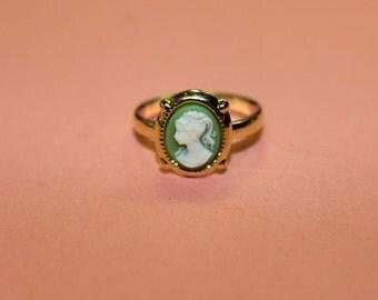 Tiny Green Victorian Lady Cameo Ring