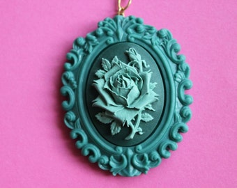 Large Mint and Teal Rose Cameo in Teal Resin Setting Necklace