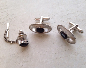 Vintage Swank Silver and Onyx Cufflinks & Tie Pin