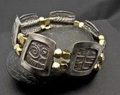 Hieroglyph - Sterling Silver Box Bangle Bracelet - One of a kind