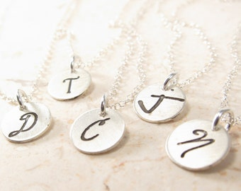 Personalized Initial Necklace  - One Tiny Initial Disc