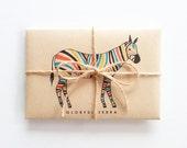 Colorful Zebra - Greeting Card set - Kraft Envelope - Horse Animal Illustration - Holiday Card - Anniversary - Celebration - Birthday