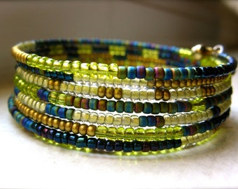 Green, Blue And Gold Memory Wire Bracelet - Giverny