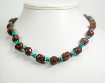 Earthy Poppy Jasper and Turquoise Necklace