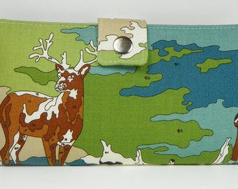 Deer Paint by Number  Handmade Long Wallet  BiFold Clutch - Lush Uptown Deer in Playground