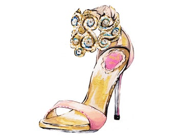 Print of Pink and Gold High Heel Fashion Illustration