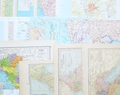 Vintage Map Pages Pack - Set of 14 from 5 Atlases