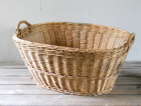 Vintage Wicker Laundry Basket Large Made In Hungary