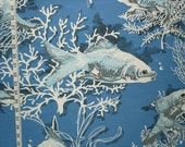 Blue fish fabric night fabric fish pond cottage decorating home decorating woodland ocean fabric  FREE SHIPPING 1 yard