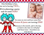 Dr. Seuss / Thing One Thing Two Twins Birthday Invitation