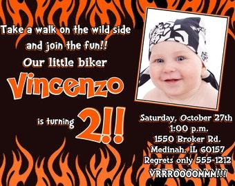Harley Davidson Invitation, Harley Inspired Invite, Little Biker Invitation, Printable File