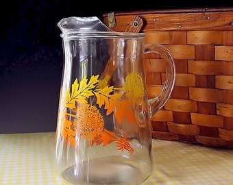 Vintage Glass Pitcher Retro 1950s Painted Fall Leaves