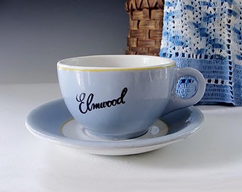 Restaurant Ware Cup and Saucer . Diner China . Blue and White Stenciled Coffee Cup . Elmwood Casino . Windsor Canada . Vintage 1950s