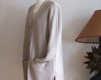 Classic linen cardigan, knitted and wooven pure linen cardigan, natural linen sweater, elegant classy beige cardigan, summer cardigan