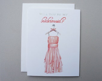 Coral Will You Be my Bridesmaid Card