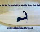 """Cape Cod 58"""" Raw Personalized Paddle Wedding Guest Book (1) Bride and Groom Names Wedding Date and Island Silhouette Beach Wedding Oars"""