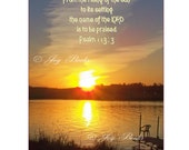 From The RISING Of The SUN - 5 X 7 Photo Instant Art Digital Download Jpg Red Willow Lake Bible Camp Binford North Dakota Sunset Over Water