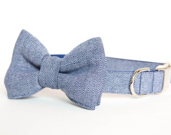 Preppy Dog Bow Tie Collar - Navy Herringbone
