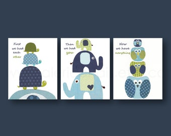 Baby boy nursery decor art First we had each other Quote Kids art blue navy green elephant turtle owl words Set of three prints