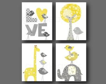 Yellow and gray Nursery wall art kids room baby nursery children art tree giraffe bird elephant Set of four prints GalerieAnais