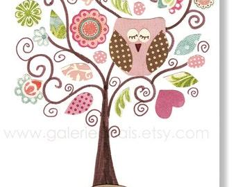 Baby nursery print Kids art Nursery wall art kids room decor baby girl nursery decor -  owl nursery tree nursery - Fantasy Tree