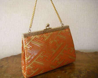 Vintage Japanese kimono purse(red,gold)