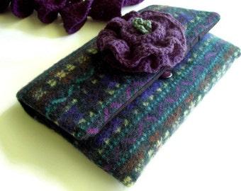 Purple Clutch Bag Hand Felted Wool Gadget Sleeve Kindle sleeve Sweater bag Handmade by handcraftusa