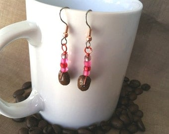 Coffee Beans-Calling Cupid-Authentic Fair Trade Coffee Bean Earrings...FREE U.S. SHIPPING