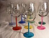 set of 9 large oversize custom painted wine glasses for christinab219