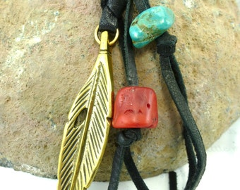 Handcast Bronze Feather, Turquoise, Red Coral Layering Necklace on Black Leather Adjustable Organic Talisman Amulet Southwest Rustic