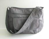 Sale - Grey Water Resistant Nylon Messenger Bag - Shoulder bag, Diaper bag, Tote, Travel bag, Women - PATTY