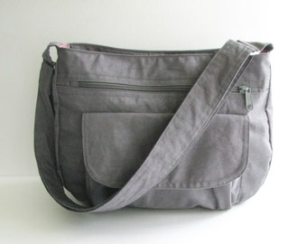 Sale - Grey Water Resistant Nylon Messenger Bag - Shoulder bag, Crossbody bag, Diaper bag, Tote, Travel bag, Women - PATTY