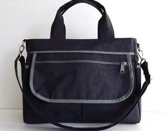 Sale - Black Water-Resistant Bag, tote, messenger, diaper bag, tote, diaper bag, cross body bag - EVA
