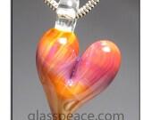Glass Heart Pendant lampwork focal bead - Glass Peace glass jewelry (5853)